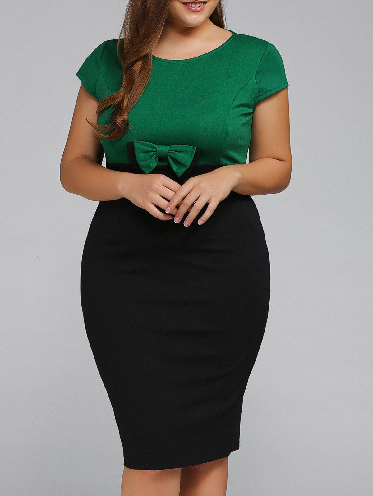 Plus Size Cape Sleeve Bodycon DressWOMEN<br><br>Size: 2XL; Color: EMERALD; Style: Work; Material: Cotton Blend; Silhouette: Sheath; Dresses Length: Knee-Length; Neckline: Round Collar; Sleeve Length: Short Sleeves; Waist: Empire; Embellishment: Bowknot; Pattern Type: Patchwork; Elasticity: Elastic; With Belt: No; Season: Fall,Spring,Summer; Weight: 0.293kg; Package Contents: 1 x Dress;