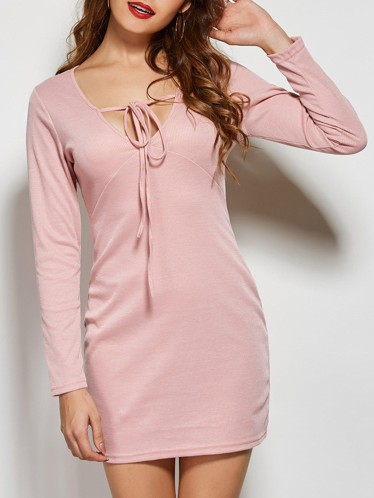 Cheap Front Tie Long Sleeve Bodycon Casual Dress