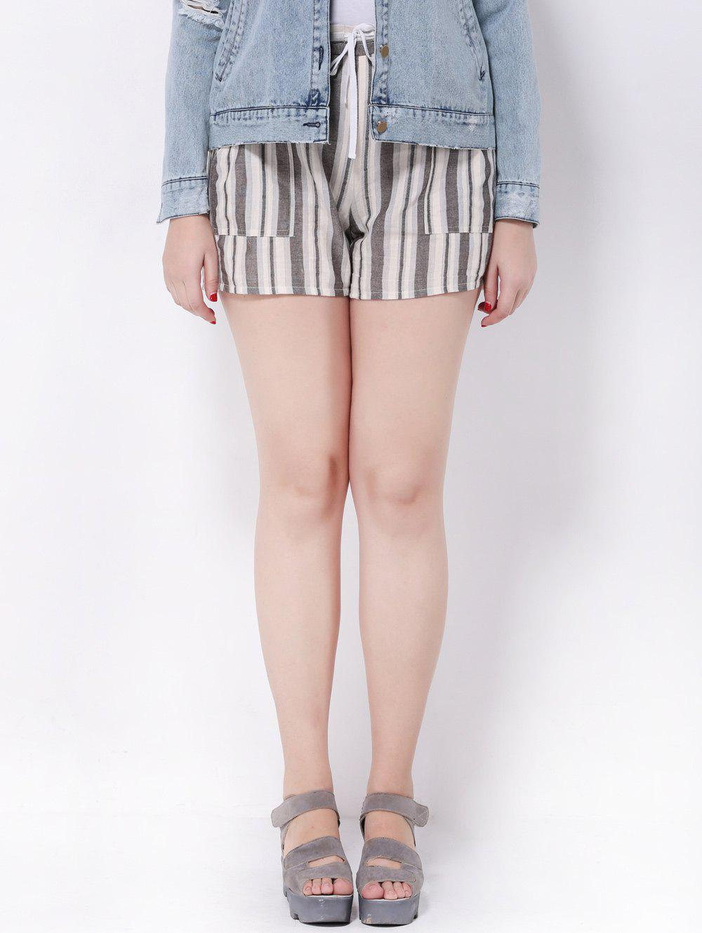 Shop Plus Size Striped Mid-Waist Shorts