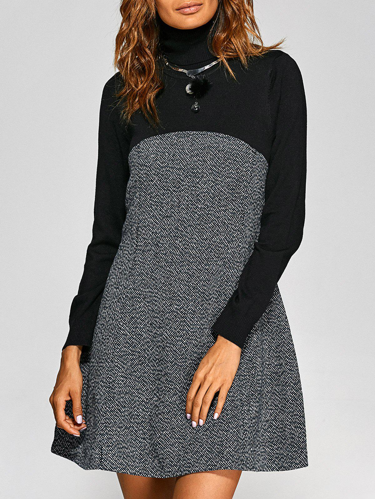 Buy Turtle Neck Knit-Paneled Textured Dress