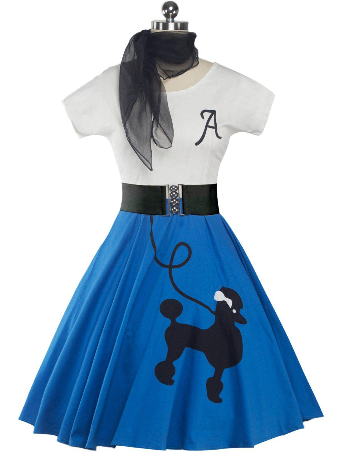Retro Poodle Print High Waist Skater DressWOMEN<br><br>Size: 2XL; Color: BRIGHT BLUE; Style: Vintage; Material: Polyester; Silhouette: A-Line; Dresses Length: Knee-Length; Neckline: Scoop Neck; Sleeve Length: Short Sleeves; Pattern Type: Animal; With Belt: Yes; Season: Spring,Summer; Weight: 0.420kg; Package Contents: 1 x Dress  1 x Belt  1 x Scarf;