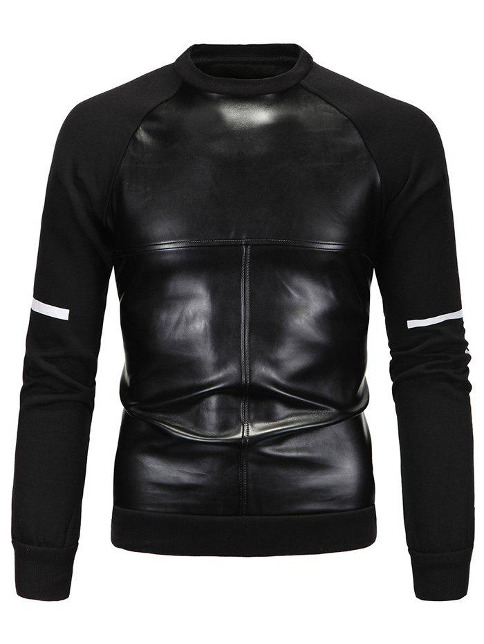 Buy PU Spliced Cross Print Long Sleeve Sweatshirt