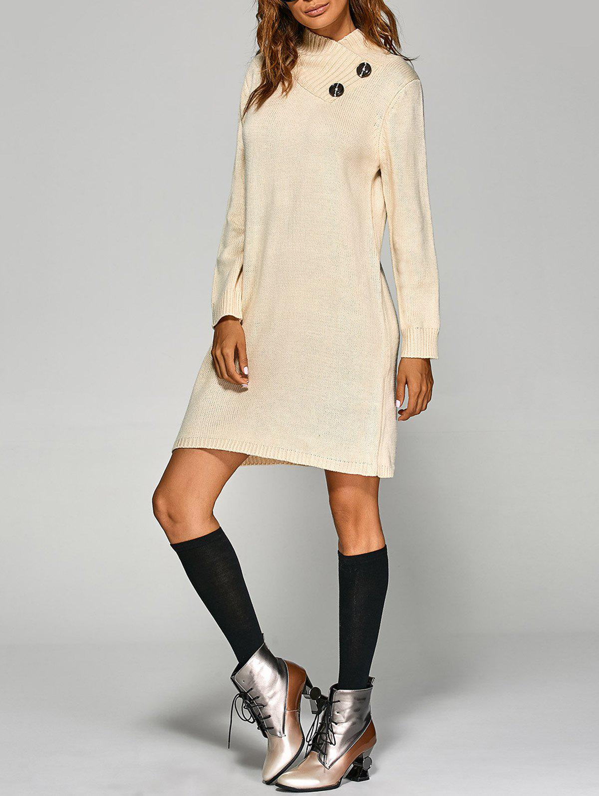 Tunic Knitted Long Sleeve DressWOMEN<br><br>Size: ONE SIZE; Color: OFF-WHITE; Style: Casual; Material: Acrylic; Silhouette: Straight; Dresses Length: Mini; Neckline: High Neck; Sleeve Length: Long Sleeves; Embellishment: Button; Pattern Type: Solid; With Belt: No; Season: Fall; Weight: 0.580kg; Package Contents: 1 x Dress;