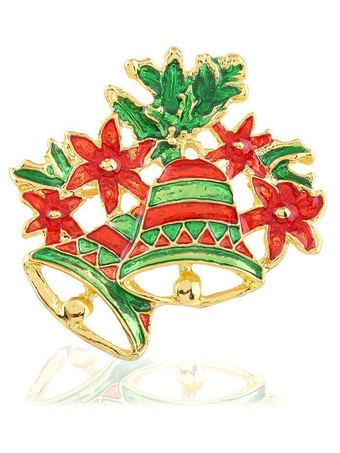 Hollow Enamel Christmas Bell Floral BroochJEWELRY<br><br>Color: EMERALD; Brooch Type: Brooch; Gender: For Unisex; Material: Resin; Metal Type: Gold Plated; Style: Trendy; Shape/Pattern: Others; Weight: 0.020kg; Package Contents: 1 x Brooch;