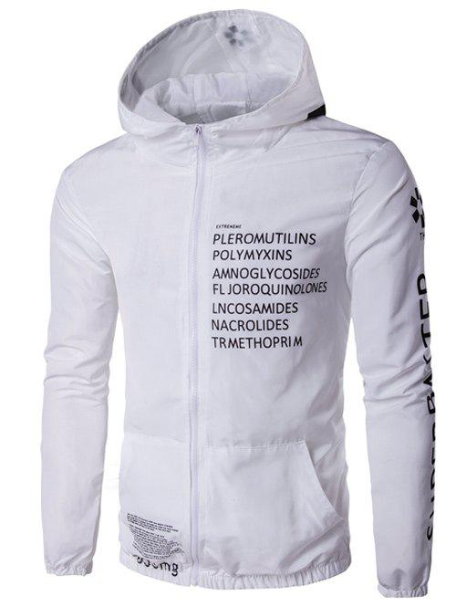 b752fa9cd0b 2018 Hooded Zip-up Plus Size Graphic Print Jacket In White Xl ...