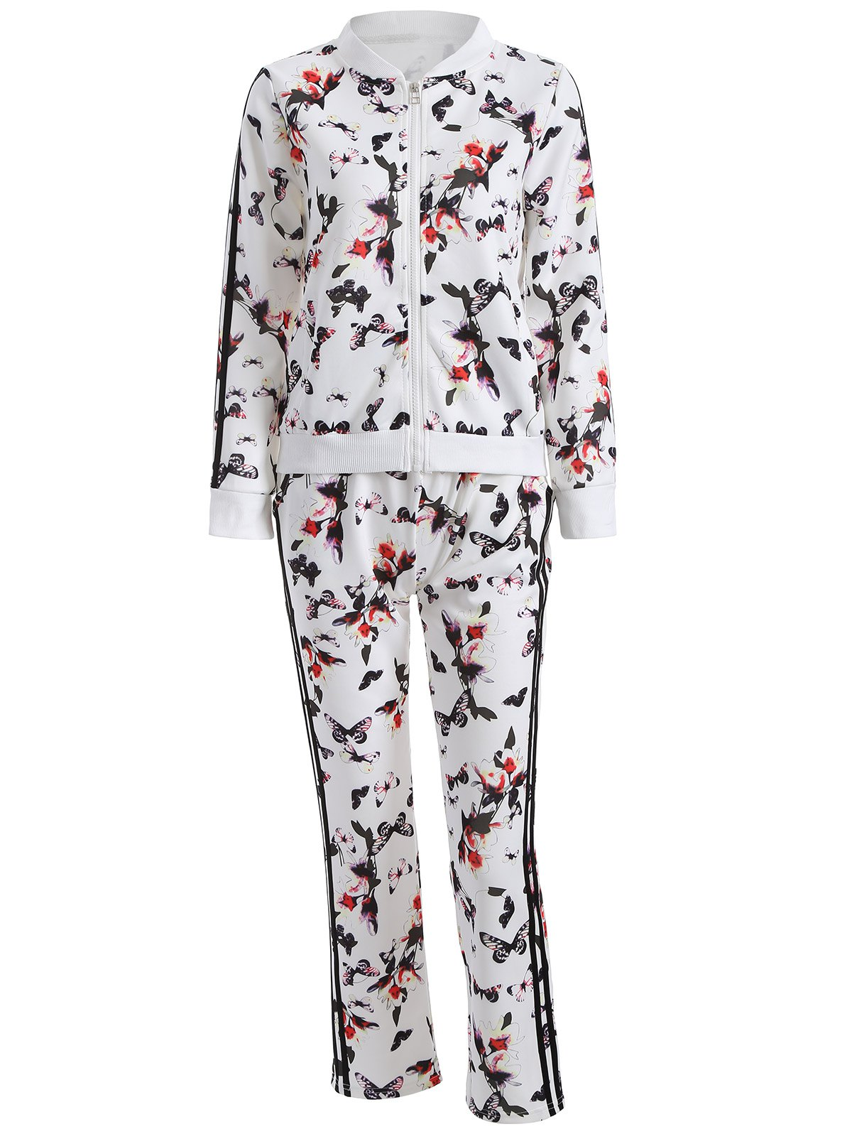 Outfit Butterfly Print Zip Up Sweatshirt and Sweatpants