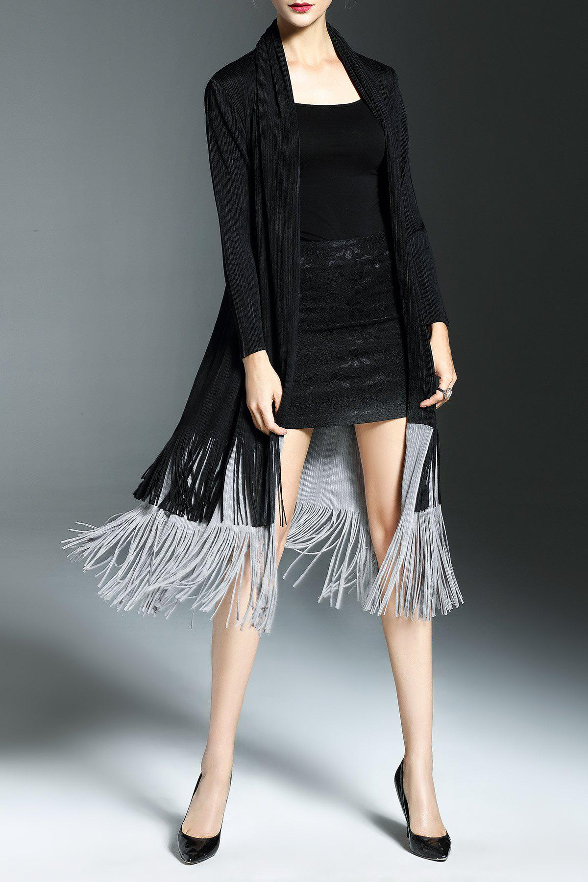 Shop Fringe Color Block Duster Coat