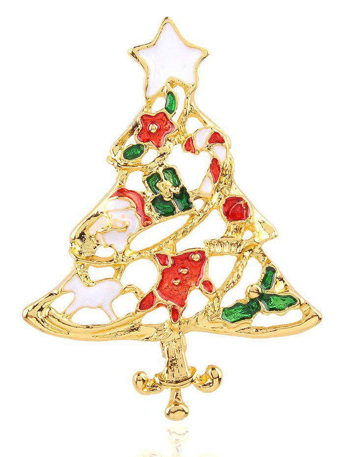 Trendy Christmas Tree Openwork BroochJEWELRY<br><br>Color: RED; Brooch Type: Brooch; Gender: For Unisex; Material: Resin; Metal Type: Alloy; Style: Trendy; Shape/Pattern: Others; Weight: 0.020kg; Package Contents: 1 x Brooch;