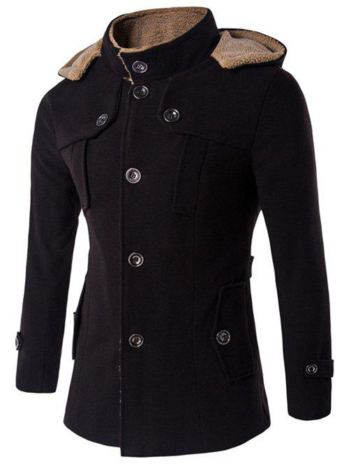 Shop Plus Size Hooded Fleece Single-Breasted Woolen Coat