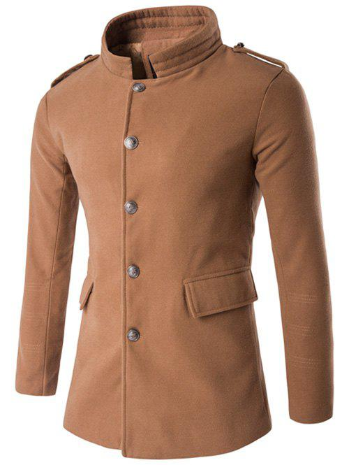 Best Plus Size Stand Collar Epaulet Single-Breasted Woolen Coat