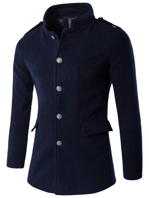 Shops Plus Size Stand Collar Epaulet Single-Breasted Woolen Coat