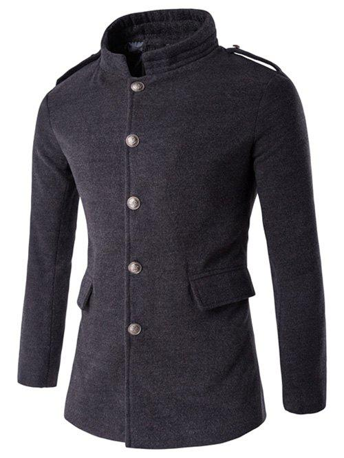 Latest Plus Size Stand Collar Epaulet Single-Breasted Woolen Coat