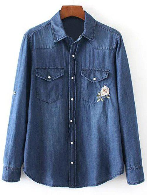 Trendy Floral Embroidered and Denim Pocket Cowboy Shirt