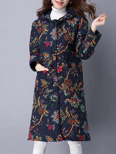Latest Pockets Ethnic Print Hooded Coat
