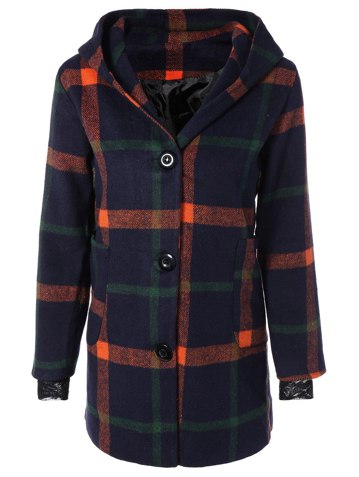 Outfits Woolen Checked Coat With Hoodie
