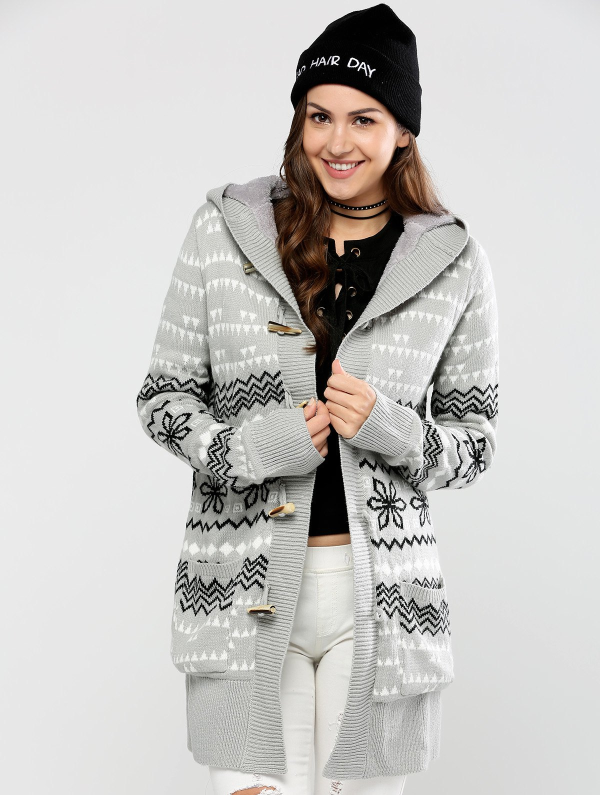 Hot Horn Button Geometric Pattern Cardigan