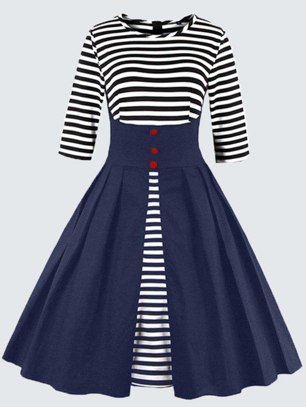 Plus Size Vintage Striped Button Embellished DressWOMEN<br><br>Size: 5XL; Color: PURPLISH BLUE; Style: Vintage; Material: Polyester; Silhouette: A-Line; Dresses Length: Knee-Length; Neckline: Round Collar; Sleeve Length: 3/4 Length Sleeves; Pattern Type: Striped; With Belt: No; Season: Fall,Spring; Weight: 0.4700kg; Package Contents: 1 x Dress;