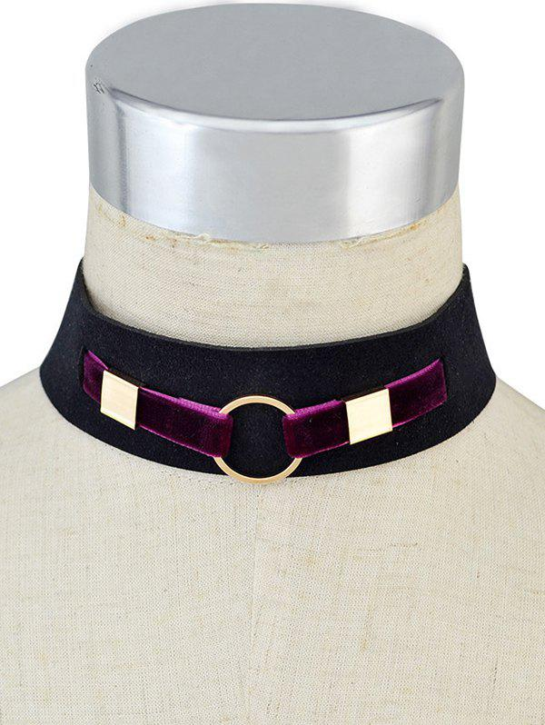 Outfits Metal Ring Velvet Wide Choker Necklace