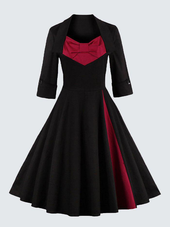 Plus Size Vintage Bowknot Skater DressWOMEN<br><br>Size: 3XL; Color: RED; Style: Vintage; Material: Polyester; Silhouette: A-Line; Dresses Length: Knee-Length; Neckline: Sweetheart Neck; Sleeve Length: 3/4 Length Sleeves; Embellishment: Bowknot; Pattern Type: Patchwork; With Belt: No; Season: Fall,Spring; Weight: 0.570kg; Package Contents: 1 x Dress;