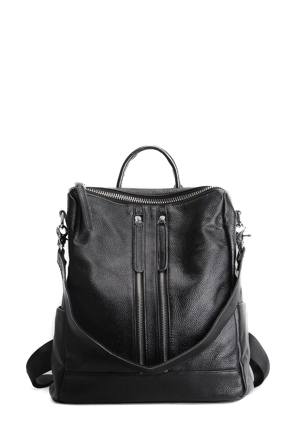 Fashion Textured Leather Multi Zips Backpack