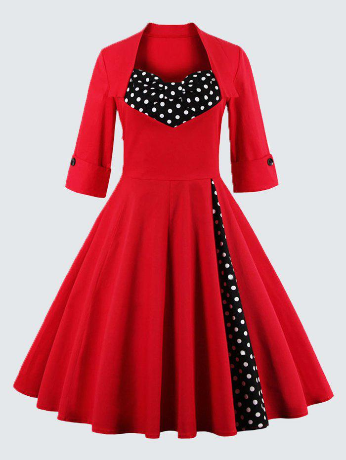 Polka Dot Plus Size Sweetheart DressWOMEN<br><br>Size: 4XL; Color: RED; Style: Vintage; Material: Polyester; Silhouette: A-Line; Dresses Length: Knee-Length; Neckline: Sweetheart Neck; Sleeve Length: 3/4 Length Sleeves; Pattern Type: Polka Dot; With Belt: No; Season: Fall,Spring; Weight: 0.3940kg; Package Contents: 1 x Dress;