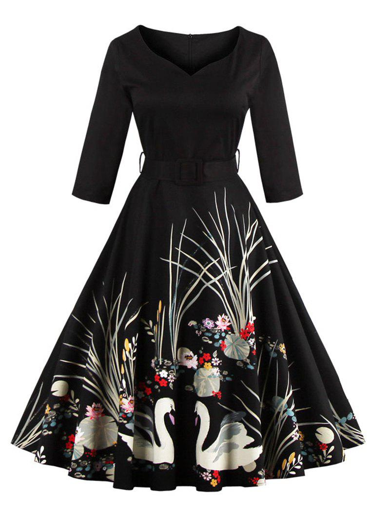 Vintage Printed Fit and Flare Waisted DressWOMEN<br><br>Size: 4XL; Color: BLACK; Style: Vintage; Material: Polyester; Silhouette: A-Line; Dresses Length: Mid-Calf; Neckline: V-Neck; Sleeve Length: 3/4 Length Sleeves; Pattern Type: Print; With Belt: Yes; Season: Fall,Spring; Weight: 0.5200kg; Package Contents: 1 x Dress 1 x Belt;