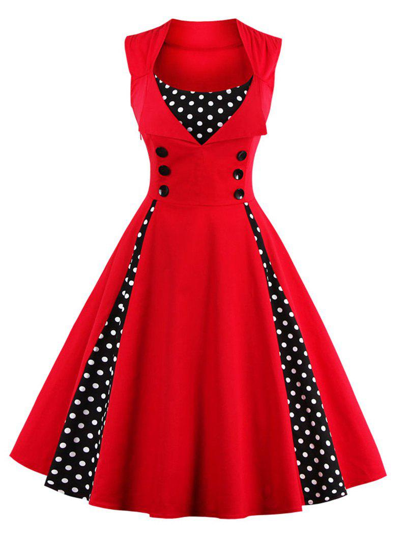 Sleeveless Polka Dot Retro Corset A Line DressWOMEN<br><br>Size: 2XL; Color: RED; Style: Vintage; Material: Polyester; Silhouette: A-Line; Dresses Length: Knee-Length; Neckline: Square Collar; Sleeve Length: Sleeveless; Pattern Type: Polka Dot; With Belt: No; Season: Spring,Summer; Weight: 0.3020kg; Package Contents: 1 x Dress;