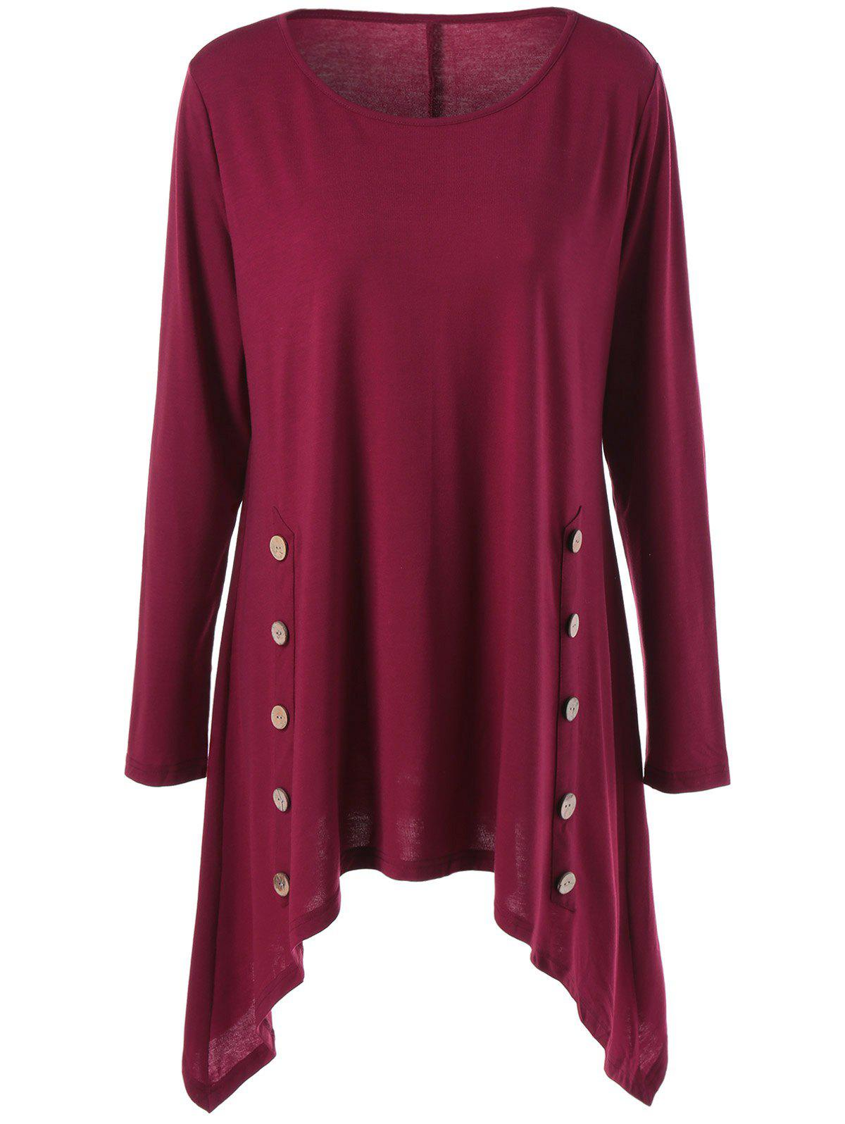 Long Sleeve Plus Size Double-Breasted Asymmetrical T-ShirtWOMEN<br><br>Size: 2XL; Color: WINE RED; Material: Polyester,Spandex; Shirt Length: Long; Sleeve Length: Full; Collar: Scoop Neck; Style: Casual; Season: Fall,Spring; Pattern Type: Solid; Weight: 0.380kg; Package Contents: 1 x T-Shirt;
