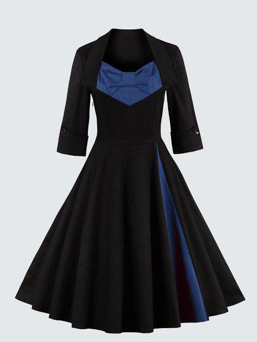 Plus Size Vintage Bowknot Skater DressWOMEN<br><br>Size: 3XL; Color: BLUE; Style: Vintage; Material: Polyester; Silhouette: A-Line; Dresses Length: Knee-Length; Neckline: Sweetheart Neck; Sleeve Length: 3/4 Length Sleeves; Embellishment: Bowknot; Pattern Type: Patchwork; With Belt: No; Season: Fall,Spring; Weight: 0.570kg; Package Contents: 1 x Dress;