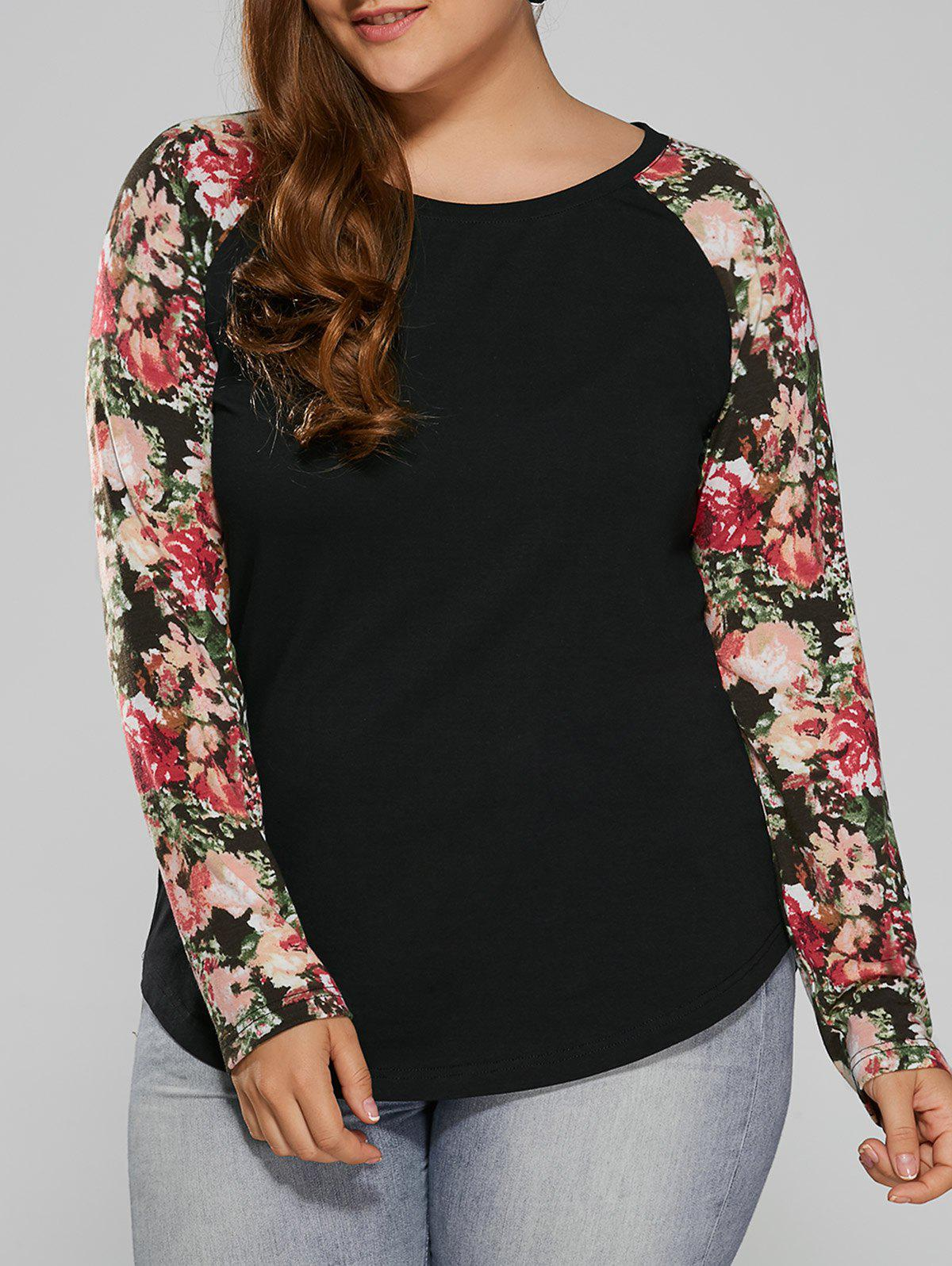 Plus Size Floral Raglan Full Sleeve T-ShirtWOMEN<br><br>Size: 2XL; Color: BLACK; Material: Cotton Blends,Polyester; Shirt Length: Long; Sleeve Length: Full; Collar: Round Neck; Style: Casual; Season: Fall,Spring; Pattern Type: Floral; Weight: 0.370kg; Package Contents: 1 x T-Shirt;