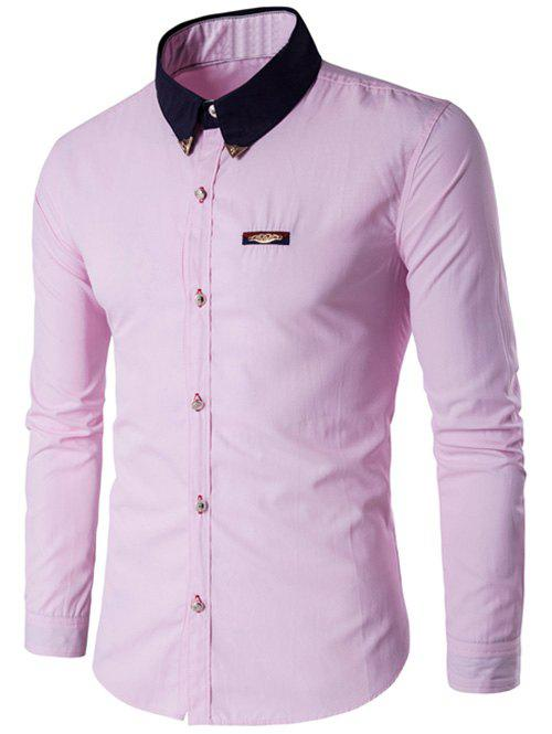 Contrast Collar Metal Embellished Button Up ShirtMEN<br><br>Size: M; Color: PINK; Shirts Type: Casual Shirts; Material: Cotton Blends; Sleeve Length: Full; Collar: Turn-down Collar; Weight: 0.1780kg; Package Contents: 1 x Shirt;