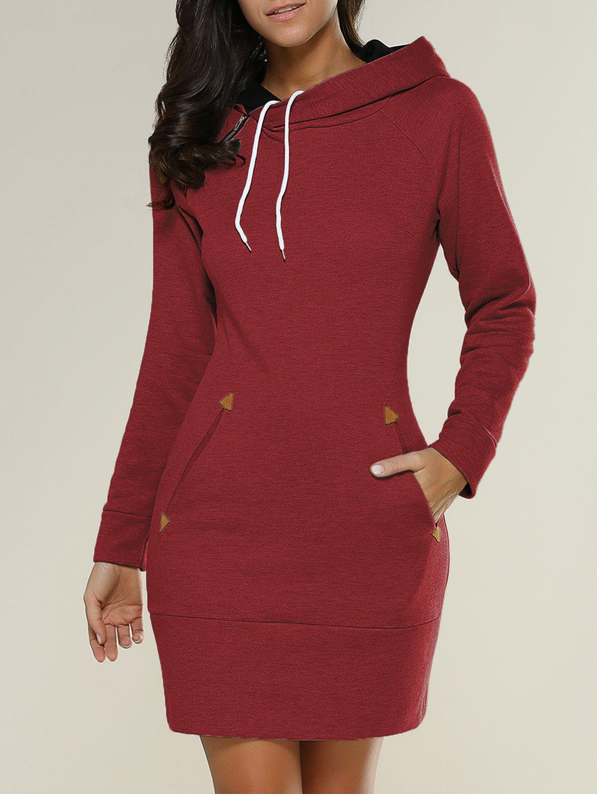 Tight Short Long Sleeve Long Hoodie Mini DressWOMEN<br><br>Size: XL; Color: RED; Style: Casual; Material: Polyester; Silhouette: Sheath; Dresses Length: Mini; Neckline: Hooded; Sleeve Length: Long Sleeves; Embellishment: Pockets; Pattern Type: Solid; With Belt: No; Season: Fall,Spring; Weight: 0.612kg; Package Contents: 1 x Hoodie Dress;