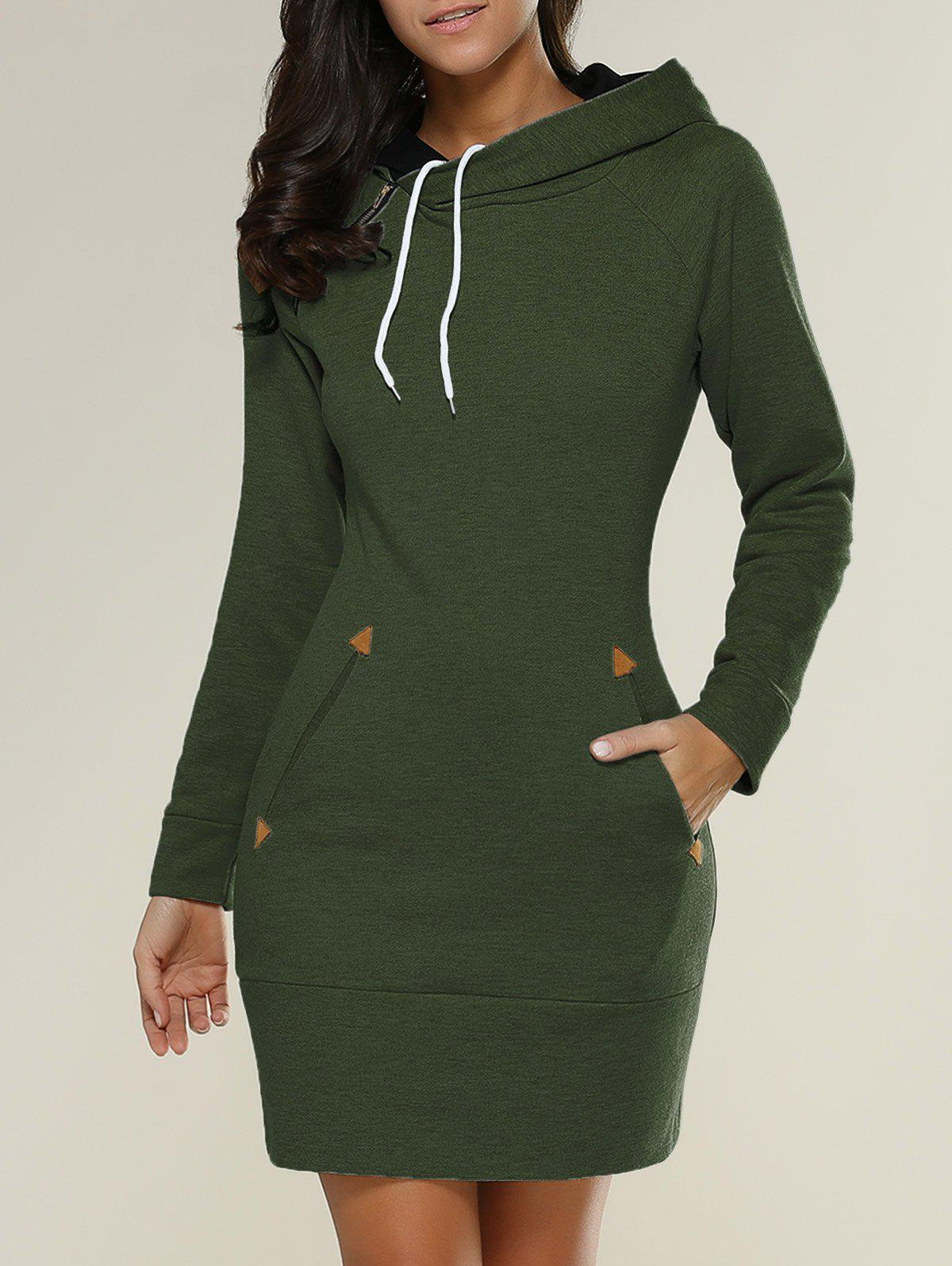 Tight Short Long Sleeve Long Hoodie Mini DressWOMEN<br><br>Size: M; Color: ARMY GREEN; Style: Casual; Material: Polyester; Silhouette: Sheath; Dresses Length: Mini; Neckline: Hooded; Sleeve Length: Long Sleeves; Embellishment: Pockets; Pattern Type: Solid; With Belt: No; Season: Fall,Spring; Weight: 0.612kg; Package Contents: 1 x Hoodie Dress;