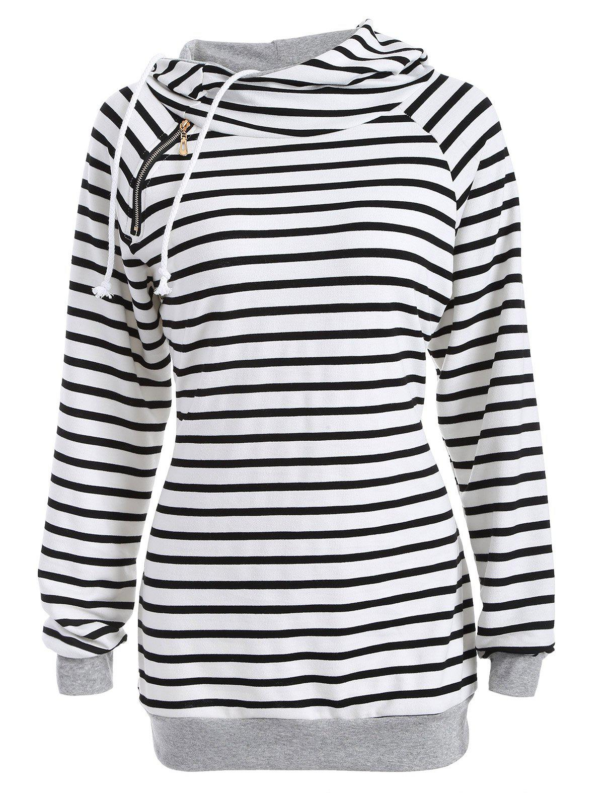 Outfits Inclined Zipper Striped Hoodie