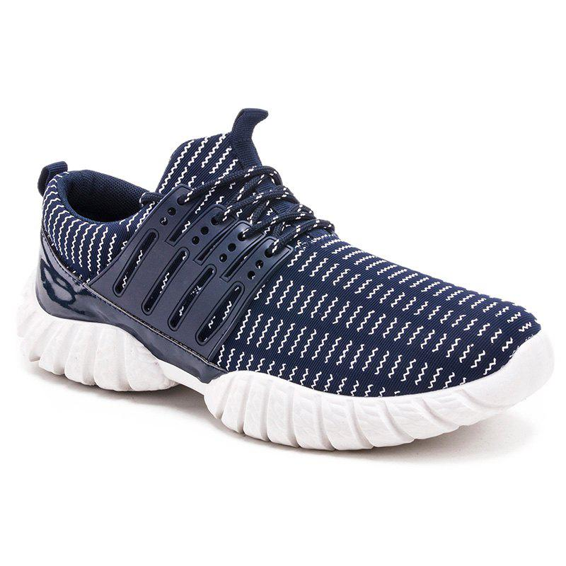 Affordable Wavy Lines Printed Tie Up Athletic Shoes