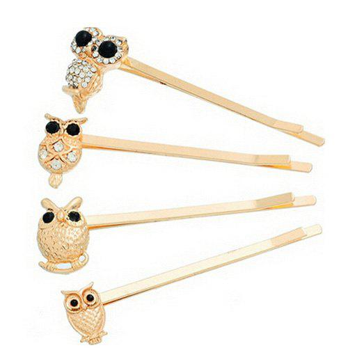 4 Pcs Alloy Owl Hair AccessoryACCESSORIES<br><br>Color: GOLDEN; Headwear Type: Hairpins; Group: Adult; Gender: For Women; Style: Fashion; Pattern Type: Animal; Weight: 0.021kg; Package Contents: 1 x Hair Accessory?4Pcs?;