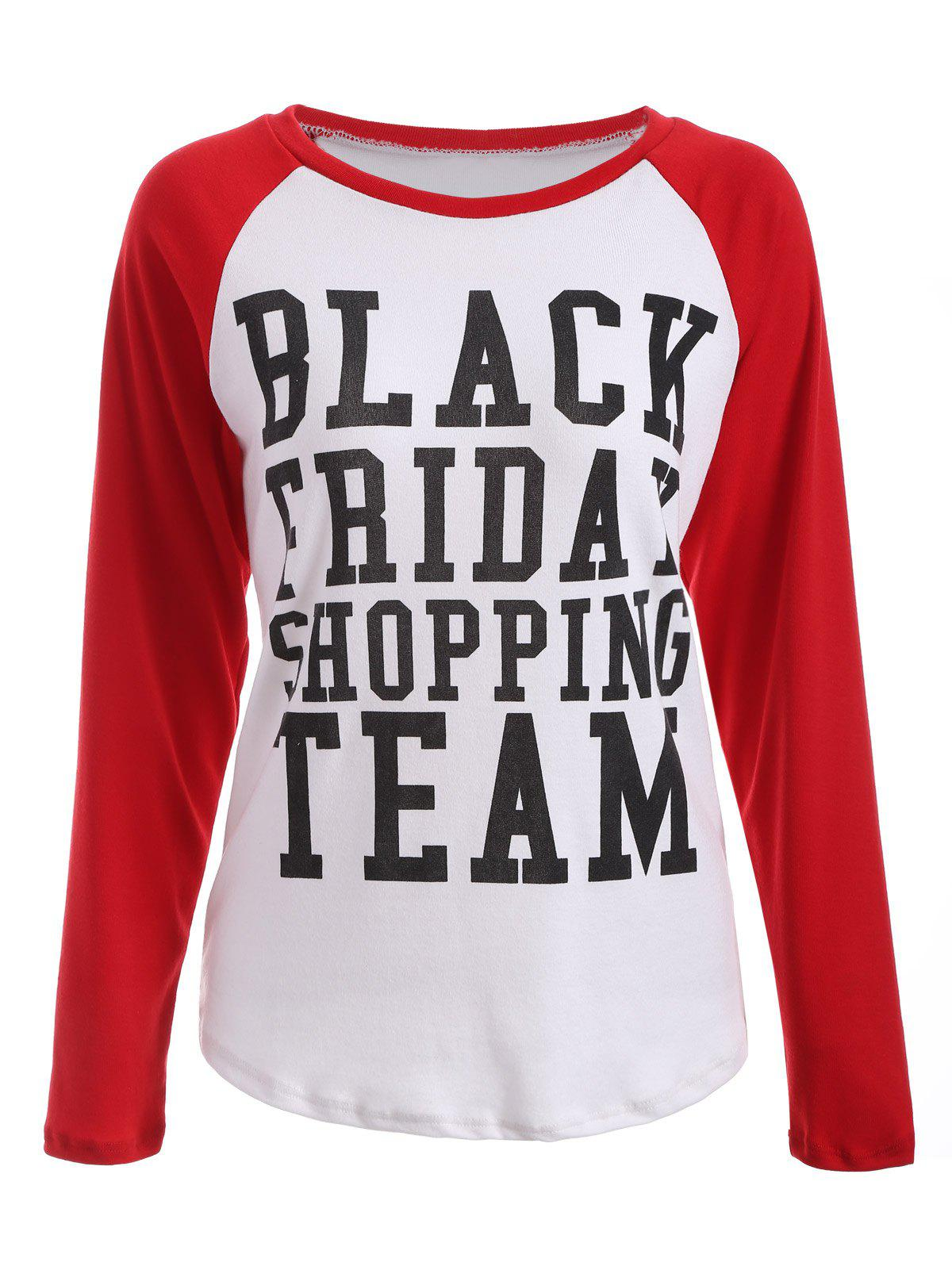 Black Friday Print Raglan Sleeve TeeWOMEN<br><br>Size: L; Color: RED WITH WHITE; Material: Cotton Blends; Sleeve Length: Full; Collar: Round Neck; Style: Casual; Embellishment: Spliced; Pattern Type: Letter; Season: Fall,Spring; Weight: 0.234kg; Package Contents: 1 x T-Shirt;