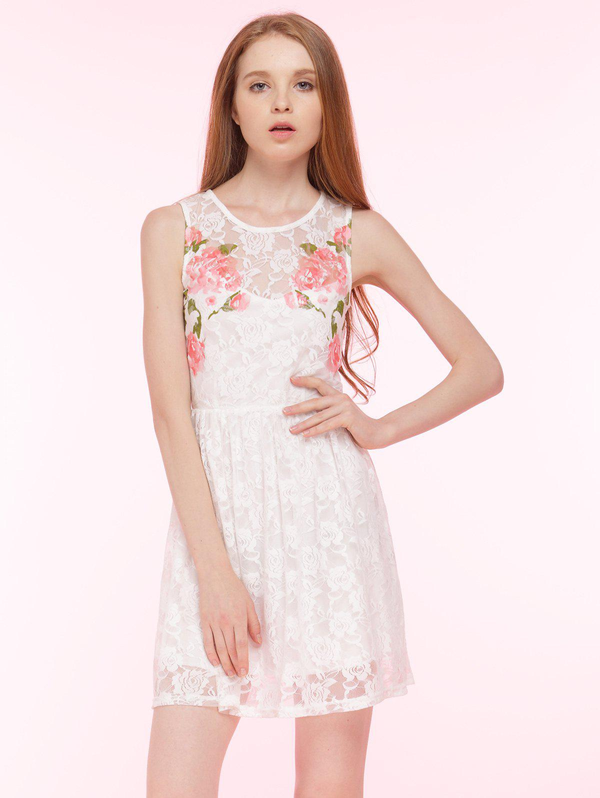 Discount Embroidered Lace Summer Skater Dress