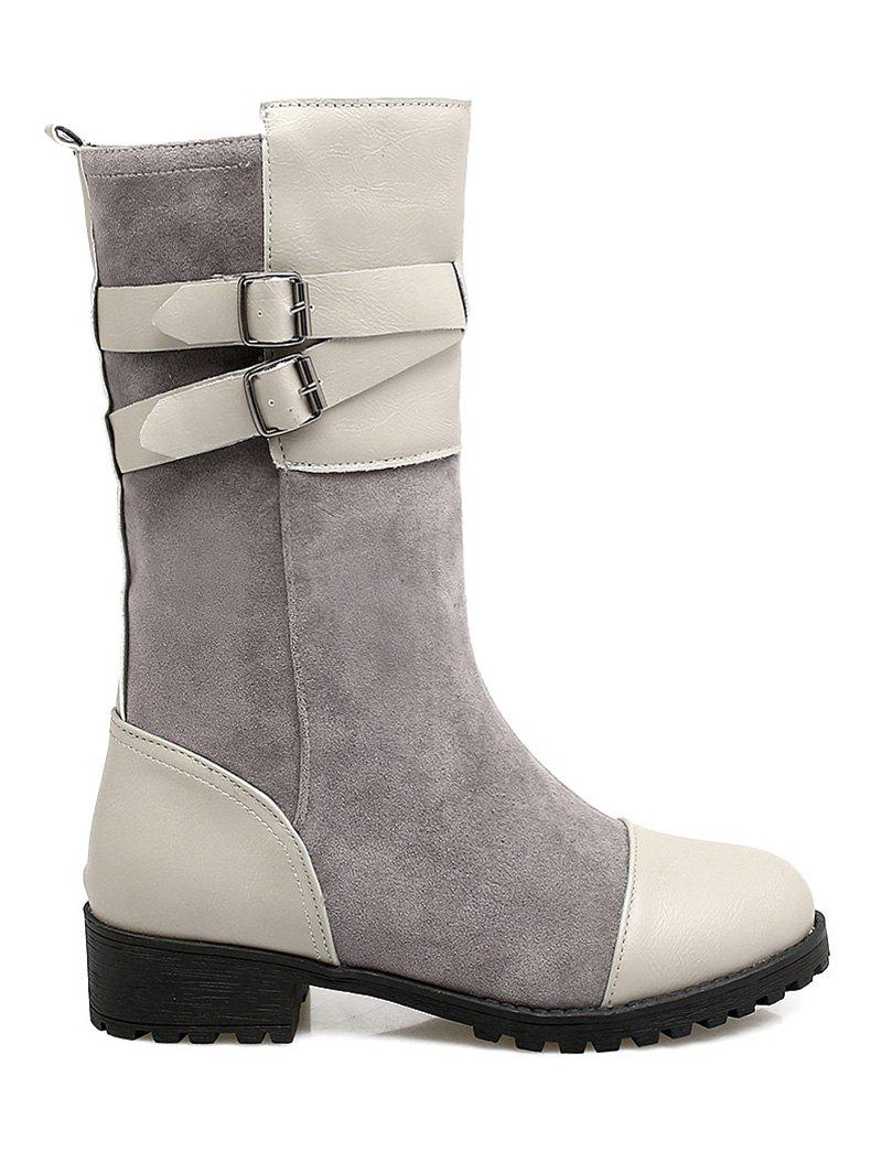 Fancy Splicing Cross Straps Mid-Calf Boots