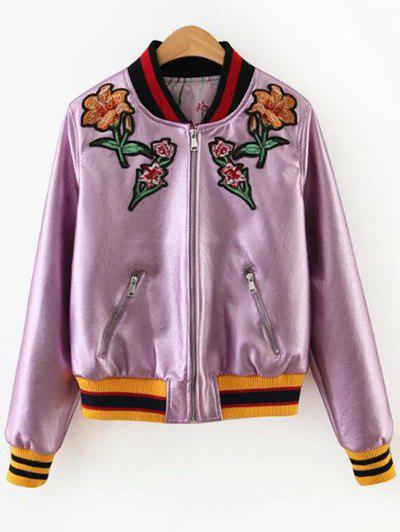 Hot Floral Embroidered Faux Leather Bomber Jacket