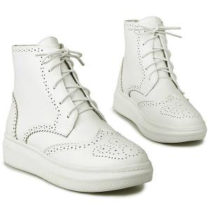 Tie Up Engraving PU Leather Ankle Boots - WHITE 38