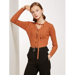 Pullover Buttoned Tied-Up Knitwear -