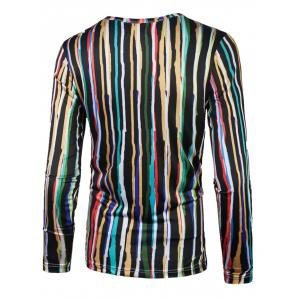 Long Sleeve Colorful Vertical Striped T-Shirt - COLORMIX 2XL