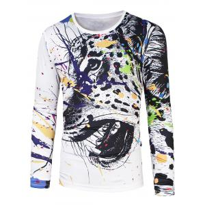 Round Neck Animal Painting Print T-Shirt