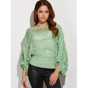 Knotted Hollow Out Ripped Sweater - PEA GREEN ONE SIZE