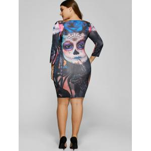 Devil Skull Print Mini Bodycon Dress - COLORMIX 5XL