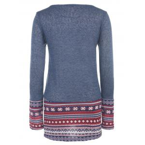 Casual Style Scoop Collar Long Sleeve Ethnic Print Women's T-Shirt -