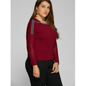 Plus Size Drop Shoulder Sheer Sleeve T-Shirt - WINE RED 2XL