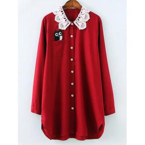 Plus Size Crochet Collar Night Owl Blouse - Wine Red - Xl