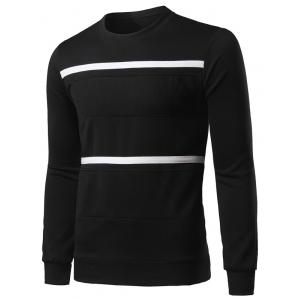 Spliced Stripe Long Sleeve Sweatshirt - BLACK XL